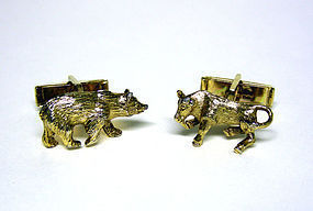 "Vintage Gold Plated ""Bull And Bear"" 