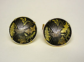 Vintage Gold Plate Damascene Cufflinks