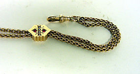 Victorian 14k Seed Pearl Garnet Watch  slide Chain