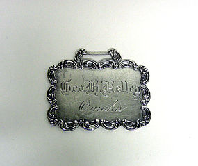 Antique Sterling Silver Luggage Tag
