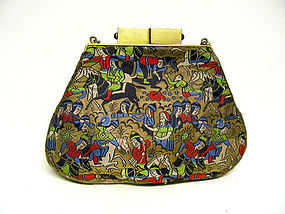 Art Deco Silk And Gem Set Evening Bag