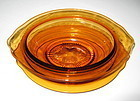 Cambridge Glass Sauce or Gravy Bowl, Liner, Ladle Amber