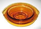 Cambridge Glass Sauce or Gravy Bowl, Liner, Ladle Amber