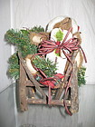 """10"""" Santa Teddy Bear in Rustic Chair with Gifts"""