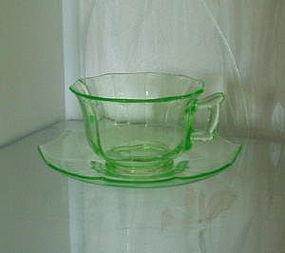 Cambridge DECAGON Cup and Saucer, Emerald Green Light