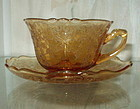 Cambridge APPLE BLOSSOM Cup and Saucer Set, Amber
