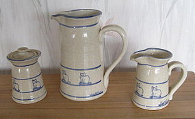 Hand Thrown Pottery Coffee Set Pot Sugar Creamer, Cats