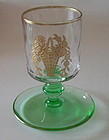 Central Glass Cigarette Stem Etched Gold Basket, Green