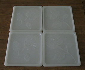 Glasbake Serving Tiles, Milk Glass Floral Set of 4