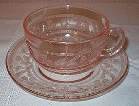 Hazel Atlas CLOVERLEAF Cup and Saucer Sets, Pink