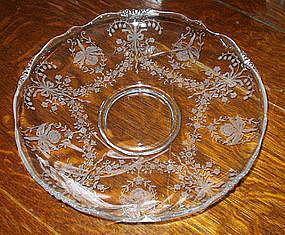 "Heisey ORCHID Etch 13"" Waverly Gardenia Bowl, Crystal"