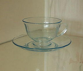 Fostoria FAIRFAX Footed Cup and Saucer, Azure Blue