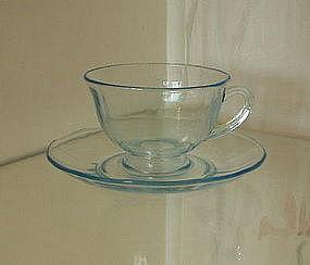 Fostoria FAIRFAX Footed Cup and Saucer, Azure Blue