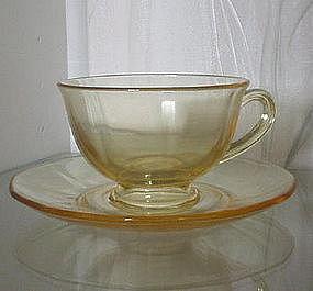 Fostoria FAIRFAX Topaz (Yellow) Cup and Saucer Set