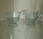 "Fostoria FAIRFAX 3.1"" Footed Sugar Creamer Set, Azure"