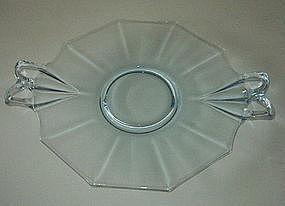"Fostoria FAIRFAX 10"" Open Handled Cake Plate Azure Blue"