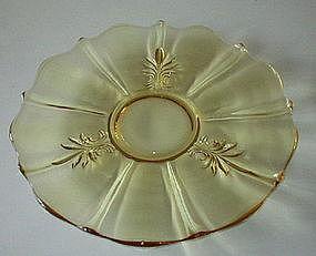 "Fostoria BAROQUE 14"" Cabaret Plate, Topaz Yellow"