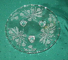 "Fostoria HEATHER Etched 8.1"" 3-Toed Tidbit Plate, Cryst"