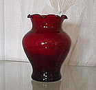 "Hocking ROYAL RUBY 4"" Ruffled Pansy Vase"