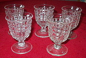 "Vintage Crystal Block Design 3 3/4"" Bar Tumblers (5)"