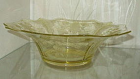 "Cambridge APPLE BLOSSOM Yellow 13"" #3400/1 Flared Bowl"