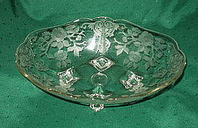 "Cambridge APPLE BLOSSOM 12"" Footed Bowl, Crystal"