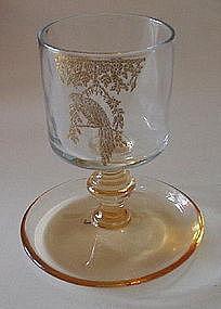 Central Glass Cigarette Stem Etched Bird, Amber / Gold