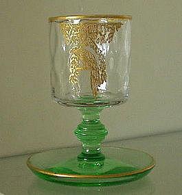 Central Glass Cigarette Stem Etched Bird, Green / Gold