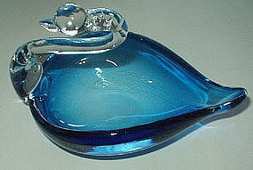 "Elegant Glass 7"" Swan Bowl Dish, Crystal and Sea Blue"