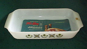 Fire King MEADOW GREEN 1.5 Qt Utility Pan 12 x 6, Label