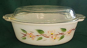 Fire King PEACH BLOSSOM 1.5 Qt Covered Casserole