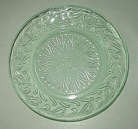 "US Glass SCROLL 6"" Bread and Butter Plates (8), Green"