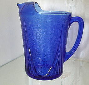 Hazel Atlas ROYAL LACE 48 oz Ice Lip Pitcher, Cobalt
