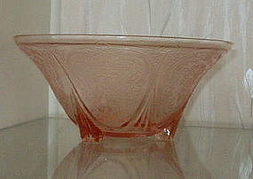 "Hazel Atlas ROYAL LACE 10"" Footed Console Bowl, Pink"
