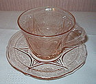 Hazel Atlas ROYAL LACE Cup and Saucer Set, Pink