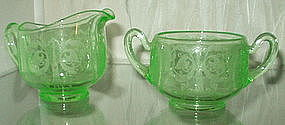Cambridge MAJESTIC Sugar Creamer, Emerald Green Light