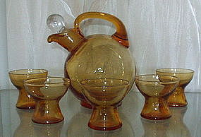 "Cambridge #3400 4.5"" Tilt Ball Decanter 6 Pc Set, Amber"