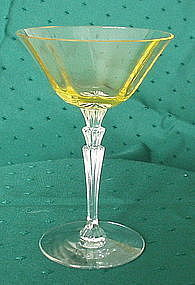 "Fostoria #5099 6"" High Sherbet Goblet, Topaz Yellow"