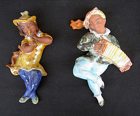 Czech Ditmar Urbach majolica musicians, wall pieces