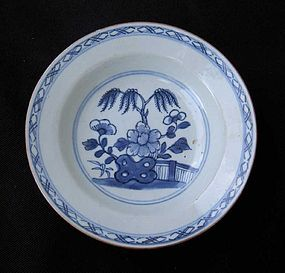 Blue and white dish or bowl, Kangxi revival
