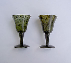 Pair of Russian nephrite jade vodka cups, c. 1900