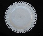 Early 19th c creamware plate with basketweave border