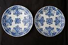 Pair of Dutch Delft �pancake� plates, 18th c
