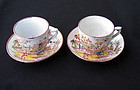 Doll size Chinoiserie transfer ware cups & saucers, Victorian