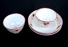 Pink lustreware cups and saucers, Staffordshire, c 1830