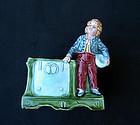 Jugendstil Majolica vase / card holder, c 1900