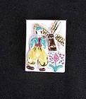 Vintage Dutch folklore ceramic brooch, signed