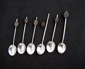 English silver plated espresso spoons/�bean end spoons""