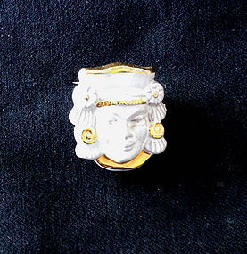 Vintage Maya motif ceramic pin, Swedish, signed