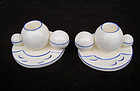 Pair of Czech Dux Déco candle holders, white and blue